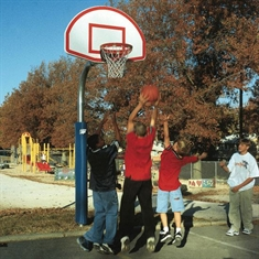 Bison® Complete Outdoor Basketball System - 4 1/2'' Heavy-Duty System - 36''x54'' Backboard