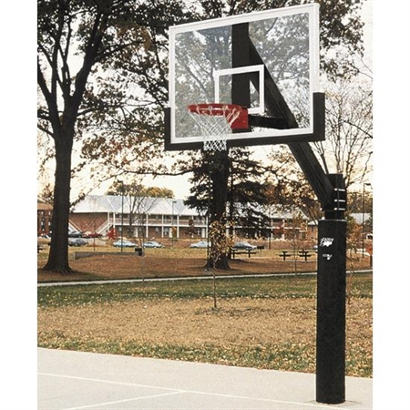 BISON 6'' Ultimate Fixed - Height Basketball System with Unbreakable Poly Backboard