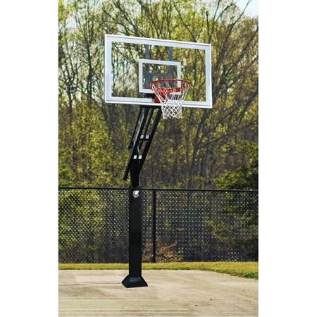BISON 6'' Ultimate Adjustable - Height Basketball System with Clear Poly Backboard