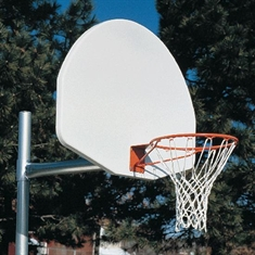 "Outdoor Basketball System - 3 1/2"" Tough Duty - 1"" Thick - Adjustable Height - 36"" x 54"" Cast - Aluminum Backboard"