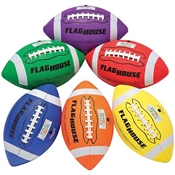 Flying Colors® 4-Panel Stitched Youth Size Rubber Football Set