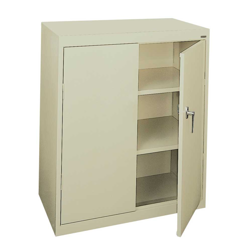 Counter height steel storage cabinet 2 shelves 36 39 39 x for Cabinet height
