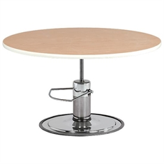 "Round Hardwood - Top Hydraulic Table - 47"" dia"