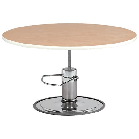 Round Hardwood - Top Hydraulic Table - 47' dia - Kids Special Needs Accessible Tables