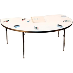 "Write-on/Wipe-off Dry-Erase 48"" x 72"" Kidney-Shaped Table"