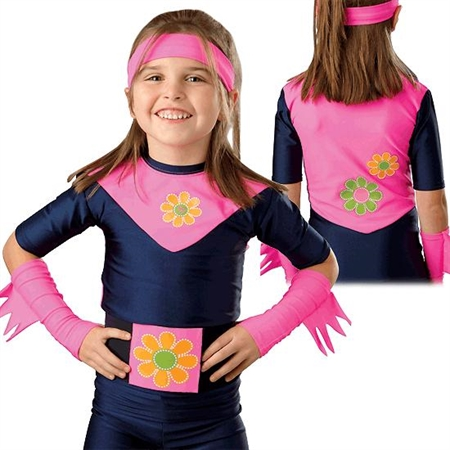 Flower Power Compression Garments - Top with Faux Cape - Kids Special Needs Sensory Integration Deep Pressure Equipment
