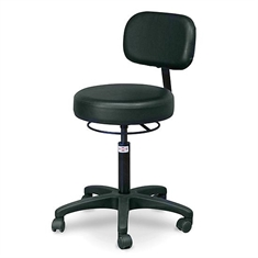 Economy Air-lift Stool with Backrest, Black
