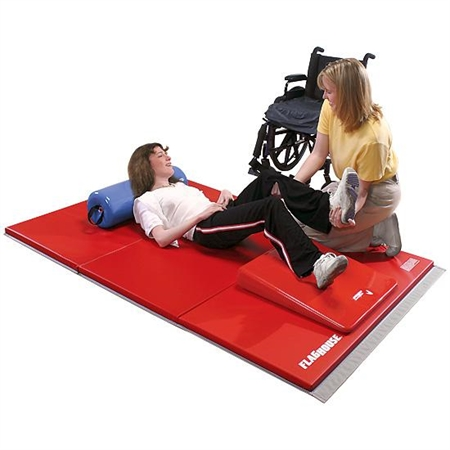 FLAGHOUSE Extra - Firm Folding Mats - 4 sides - 6' x 12' - Special Needs Therapy Mats