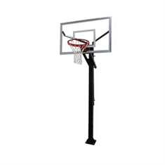 "Gared® Varsity Jam Adjustable Basketball System with 5"" Post and 60"" Glass Board"